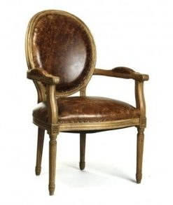 French leather cow chair