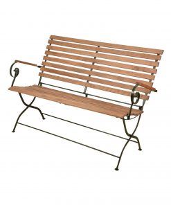 iron wood garden arm bench